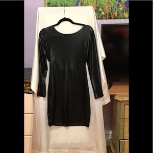 Faux leather mini party dress